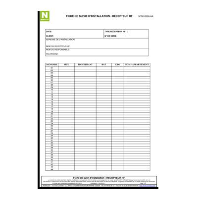 Fiche de suivi d'installation pour Récepteur HF – liste des télécommandes