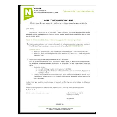 NOTE D'INFORMATION – Gestion des échanges anticipés